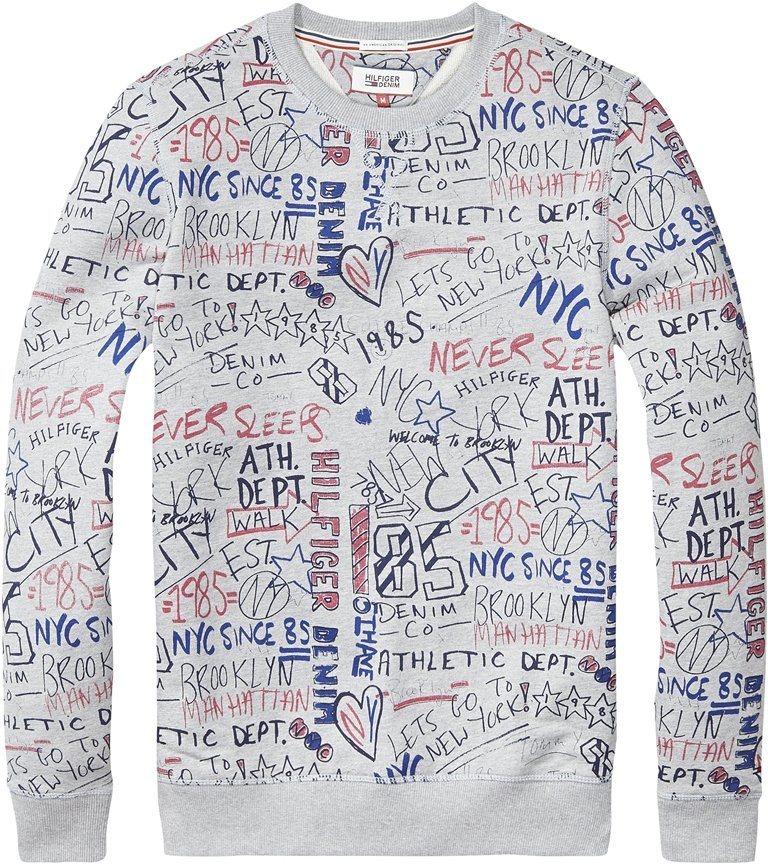 Hilfiger Denim Sweatshirt »THDM BIG SCRIBBLE CN HKNIT L/S 30« in SCRI / LT GREY