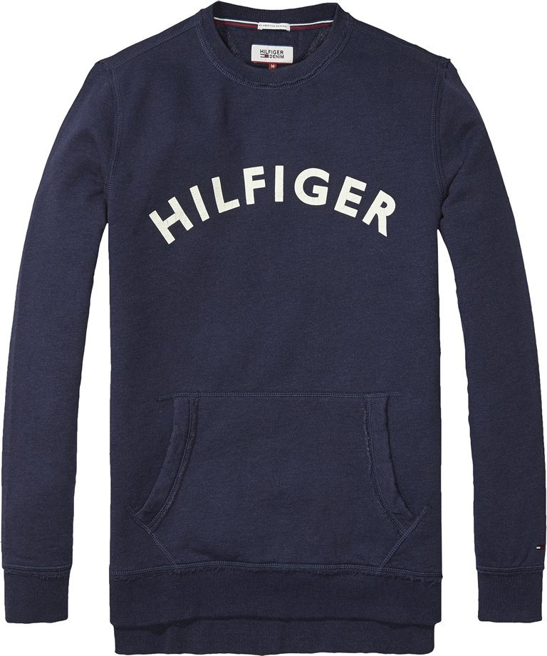 Hilfiger Denim Sweatshirt »THDM BRANDED CN HKNIT L/S 26« in BLACK IRIS