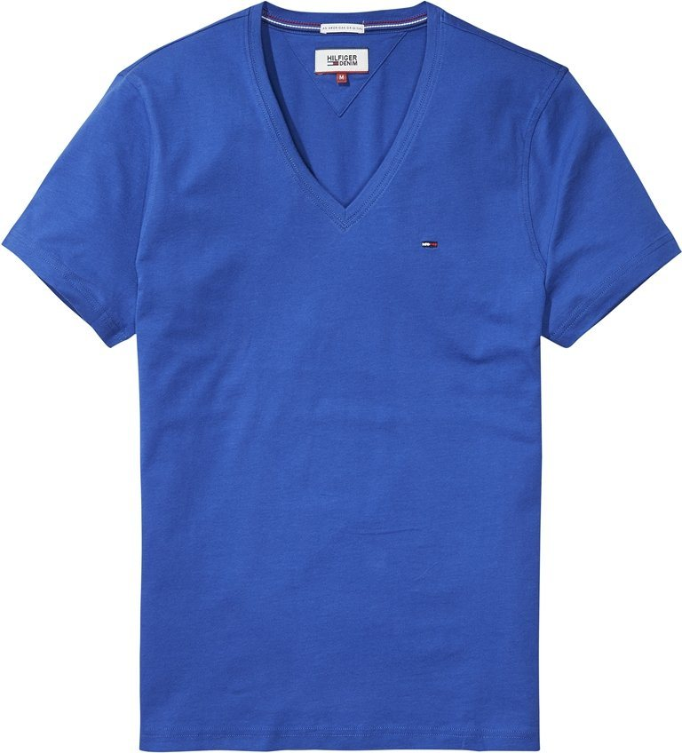 Hilfiger Denim T-Shirt (kurzarm) »THDM BASIC VN KNIT S/S 37« in TRUE BLUE
