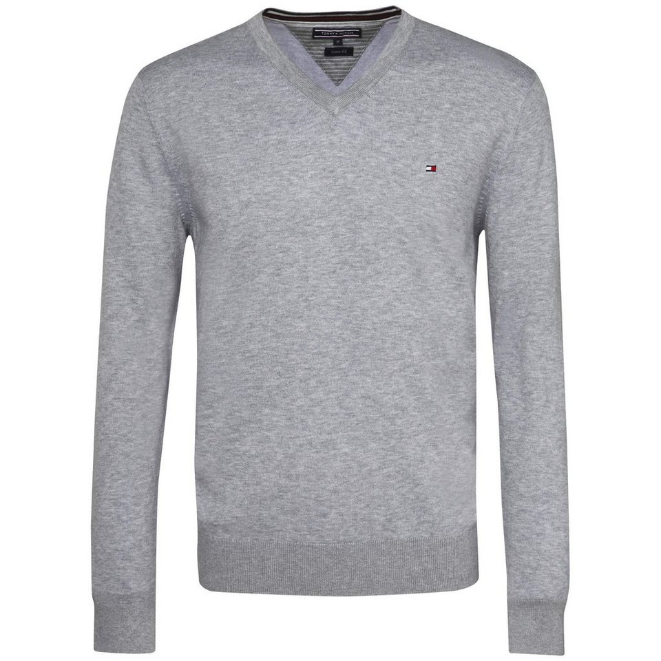 Tommy Hilfiger Pullover »PLAITED CTN SILK V-NK CF« in MONUMENT
