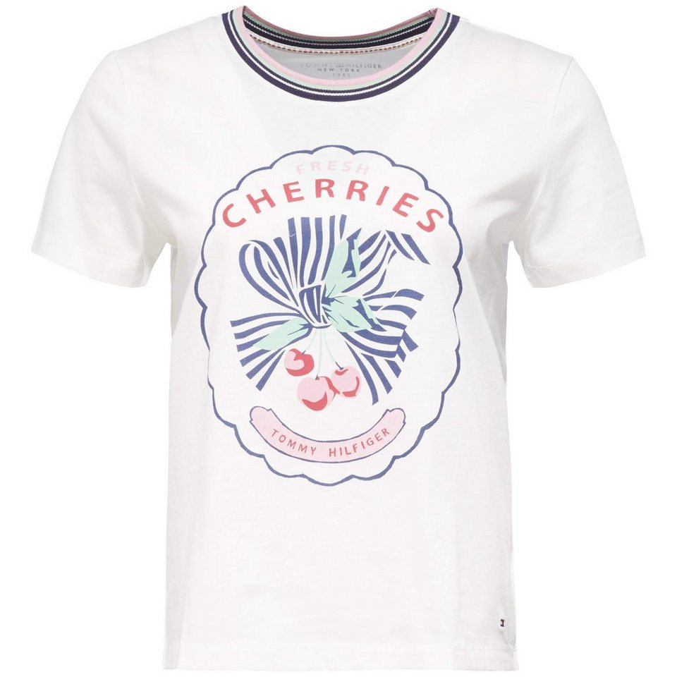 Tommy Hilfiger T-Shirt (mit Arm) »CHERRY PRT C-NK TEE SS« in SNOW WHITE
