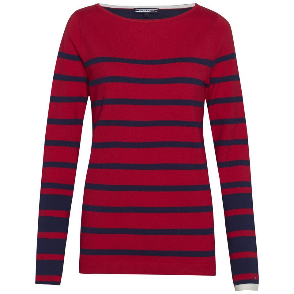 Tommy Hilfiger Pullover »ICONS IVY STP BOAT-NK SWTR« in CRIMSON/ECLIPSE
