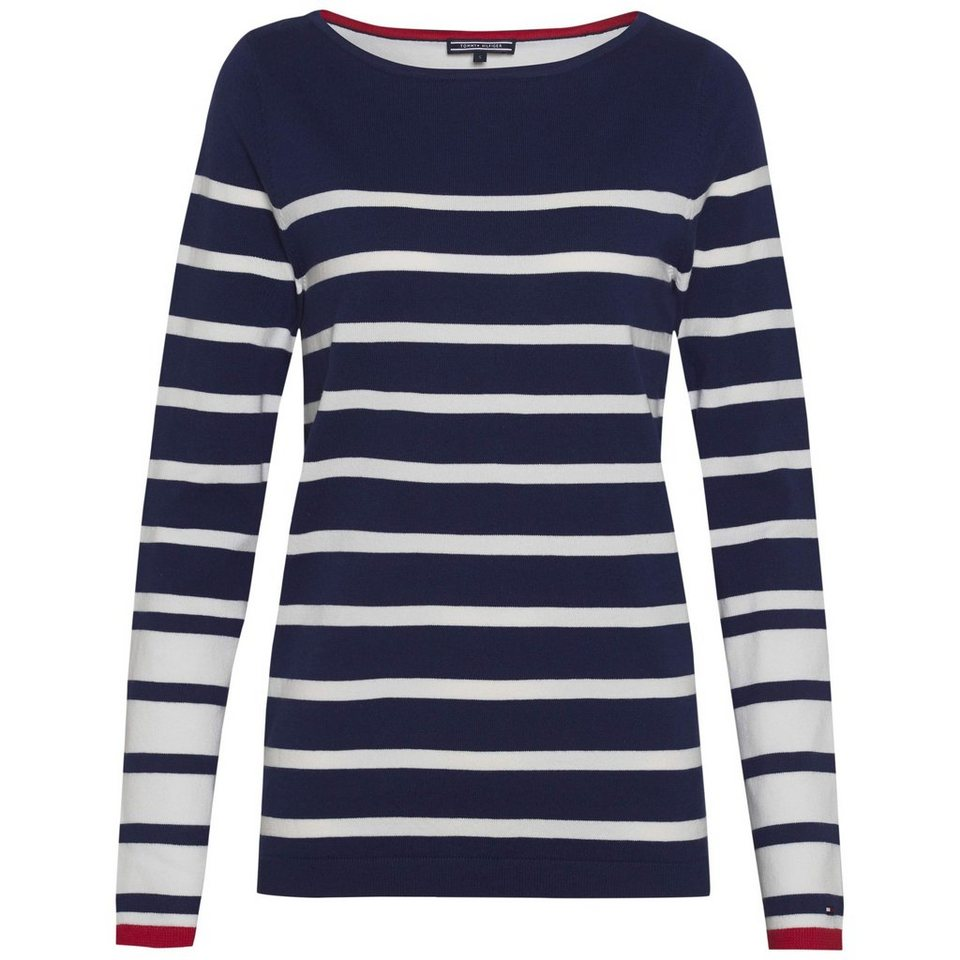 Tommy Hilfiger Pullover »ICONS IVY STP BOAT-NK SWTR« in ECLIPSE / WHITE