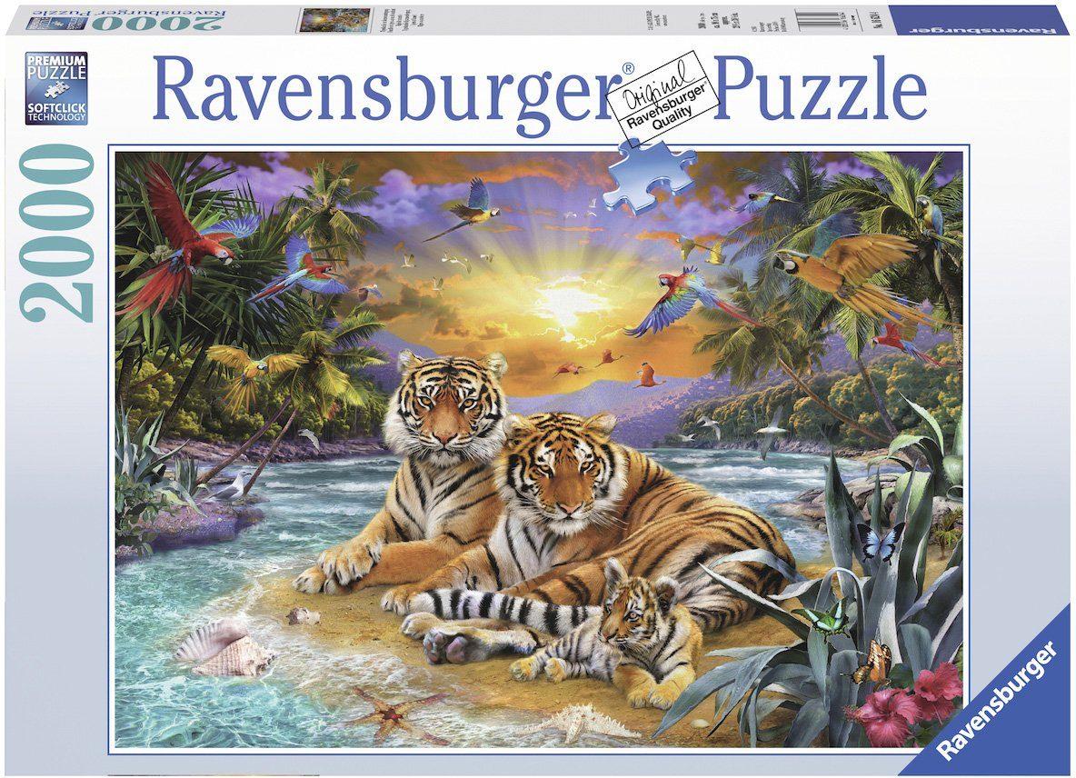 Ravensburger Puzzle mit 2000 Teilen, »Tigerfamilie im Sonnenuntergang«