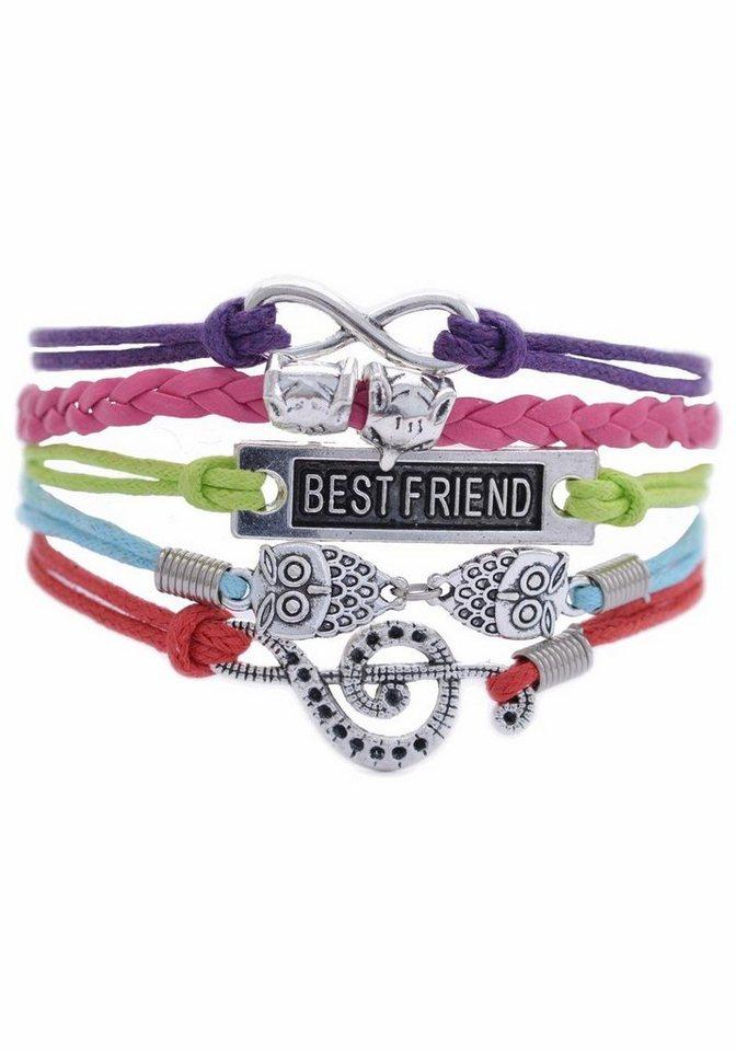 Firetti Armband »Infinity-Unendlichkeit, Lebensbaum, Schwalben« in rot-hellgrün-pink-lila-hellblau-silberfarben