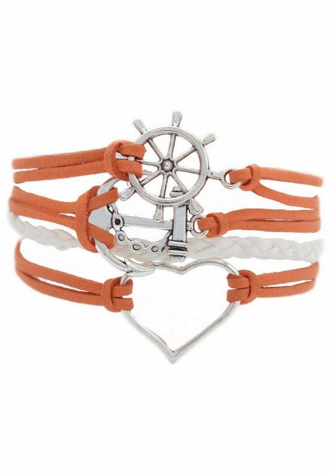 Firetti Armband »Steuerrad, Anker, Herz« in weiß-orange-silberfarben