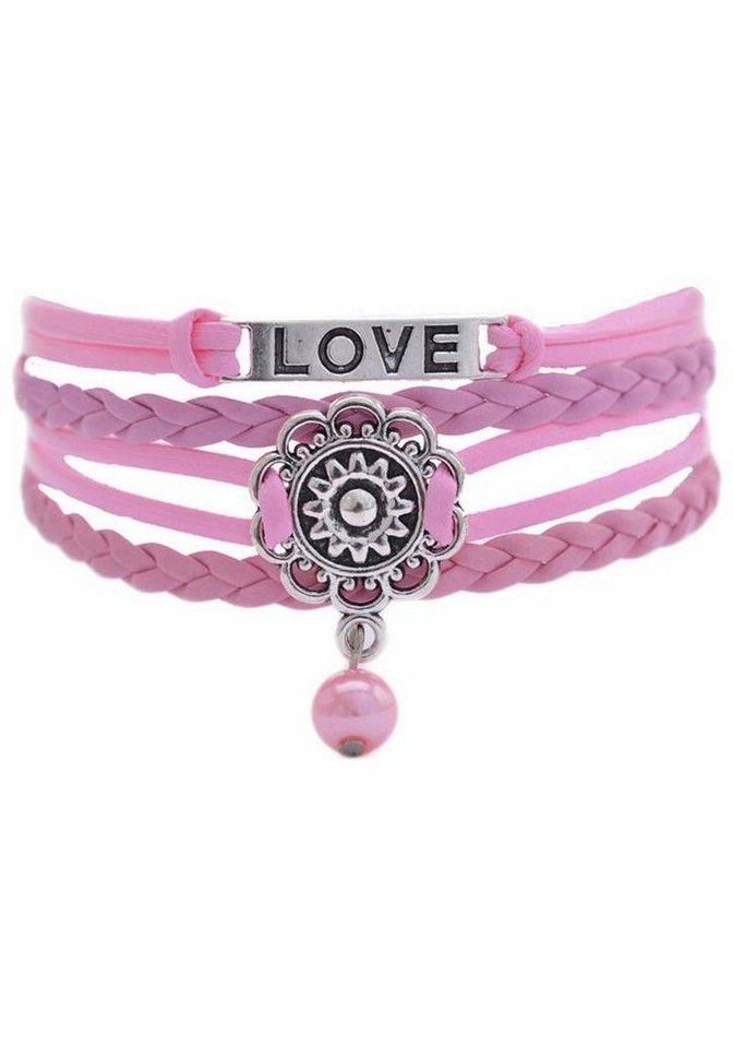 Firetti Armband »LOVE, Blume« mit synthetischer Perle in rosa-silberfarben