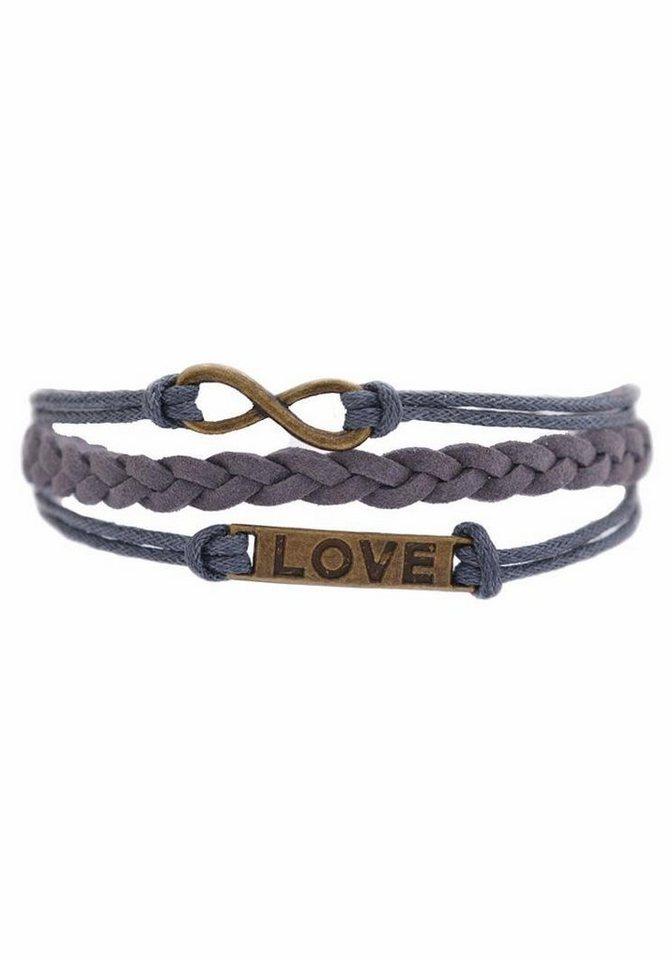 Firetti Armband »LOVE« in graublau-bronzefarben