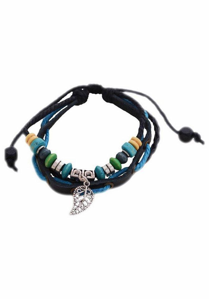 Firetti Armband »Blatt« in schwarz-blau-silberfarben