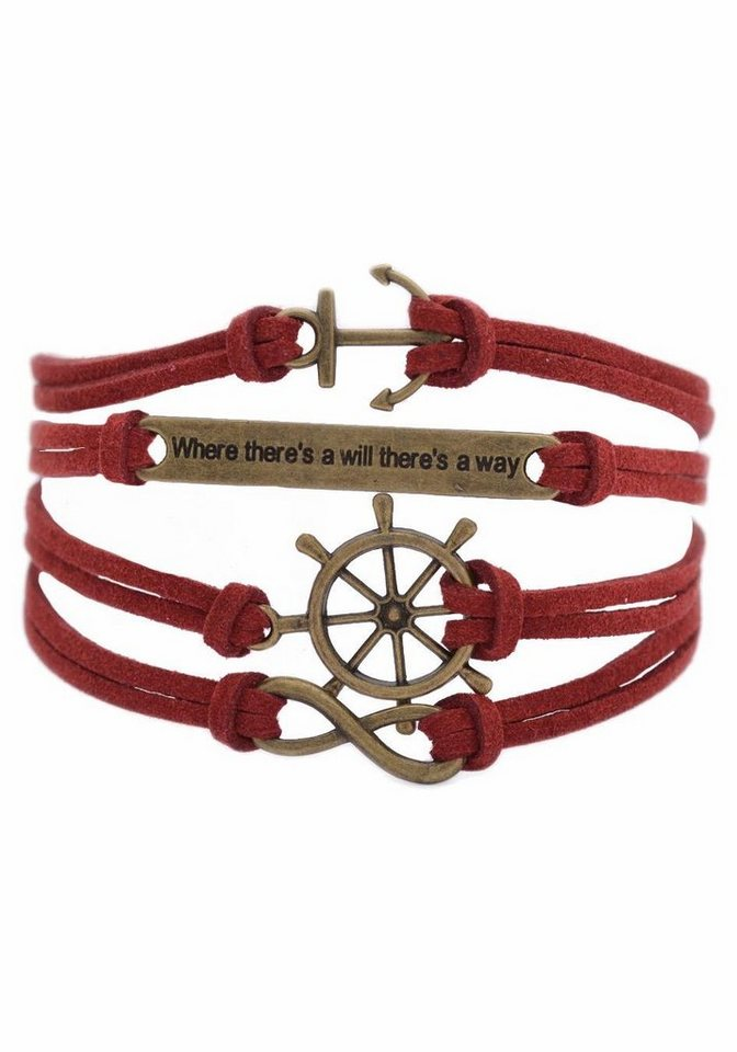 "Firetti Armband »Anker, ""Where there's will there's a way"", Steuerrad, Infinity-Unendlichkeit« in rotbraun-bronzefarben"