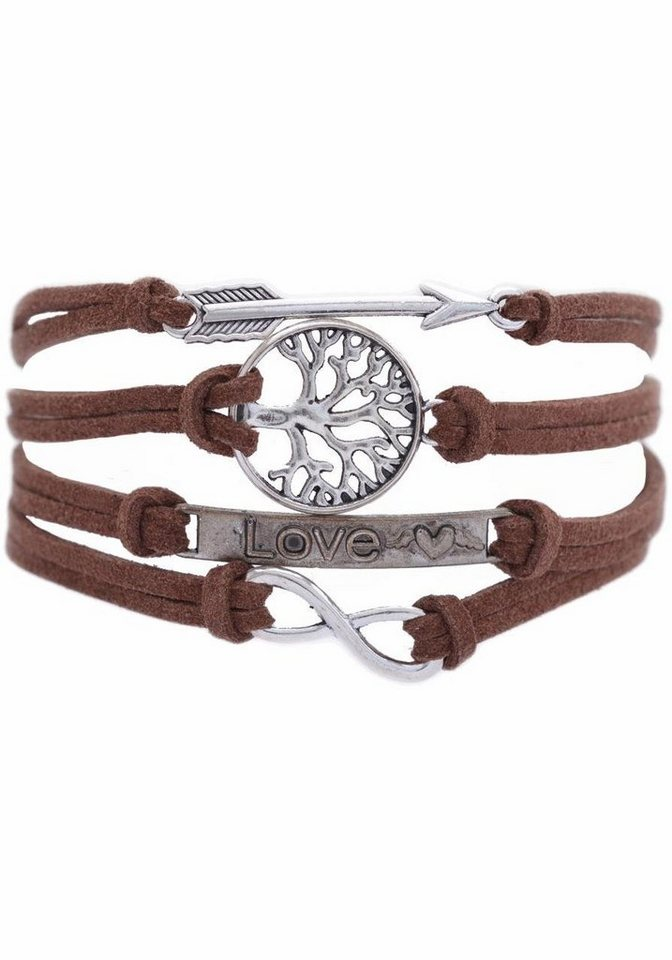 Firetti Armband »Pfeil, Lebensbaum, Love, Infinity-Unendlichkeit« in braun-silberfarben