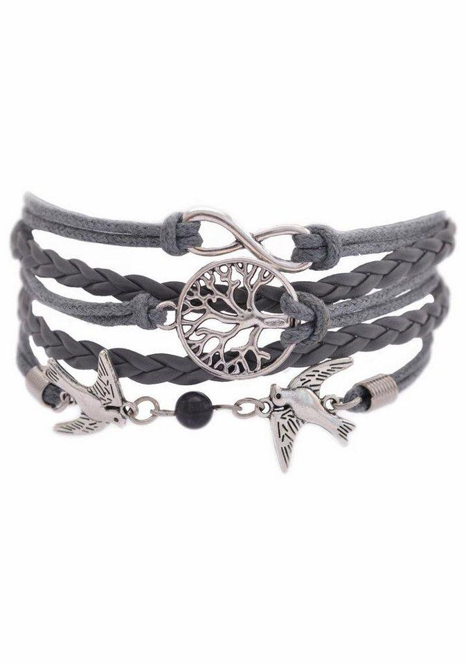 Firetti Armband »Infinity-Unendlichkeit, Lebensbaum, Schwalben« mit Glasstein in grau-schwarz-silberfarben