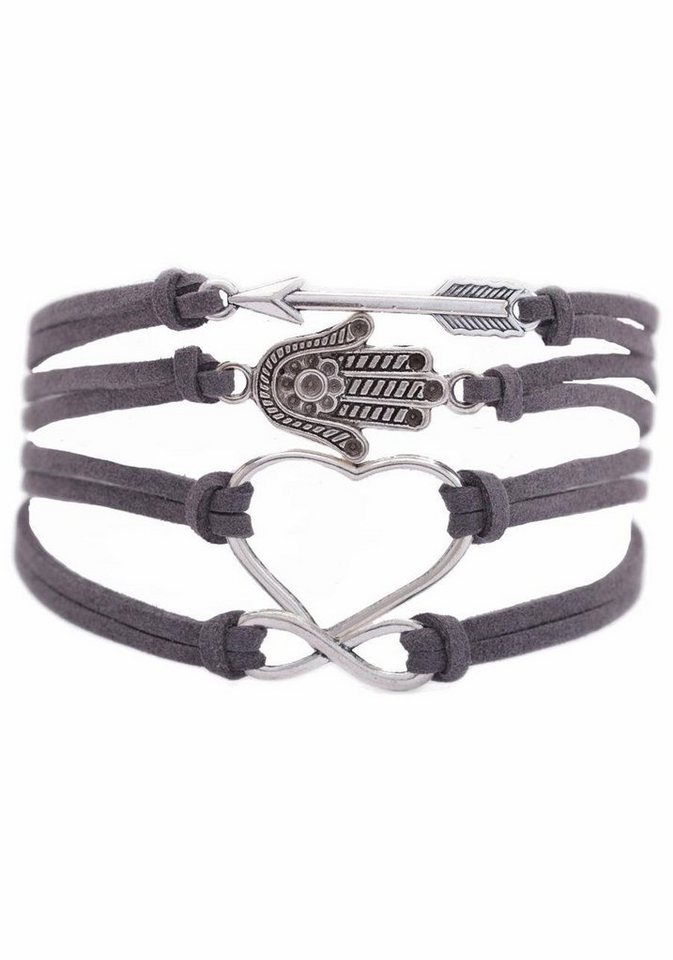 Firetti Armband »Pfeil, Hamsa Hand Fatima, Herz, Infinity-Unendlichkeit« in grau-silberfarben