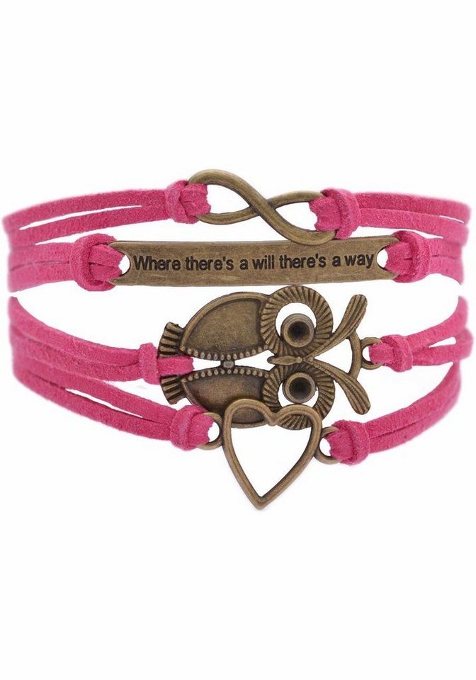 """Firetti Armband »Infinity-Unendlichkeit, """"Where there's will there's a way"""", Eule, Herz« in pink-bronzefarben"""