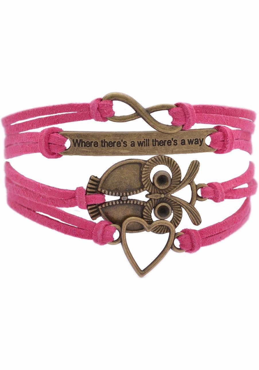 "Firetti Armband »Infinity-Unendlichkeit, ""Where there's will there's a way"", Eule, Herz«"