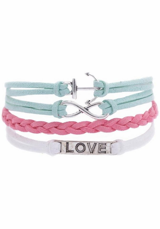 Firetti Armband »Anker Infinity-Undenlichkeit LOVE« in weiß-rosa-mint-silberfarben