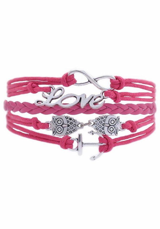 Firetti Armband »Infinity-Unendlichkeit Love Eule Anker« in pink-silberfarben