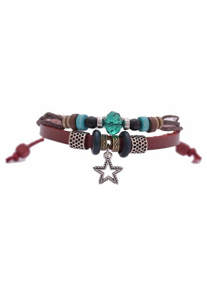 Firetti Armband »Stern« mit Glasperlen in braun-rot-grün-silberfarben