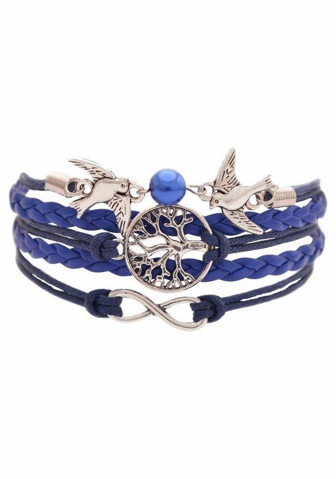Firetti Armband »Infinity-Unendlichkeit, Lebensbaum, Schwalben« mit synthetischer Perle in blau-silberfarben