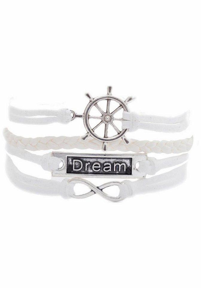 Firetti Armband »Steuerrad, Infinity-Unendlichkeit Dream« in weiß-silberfarben