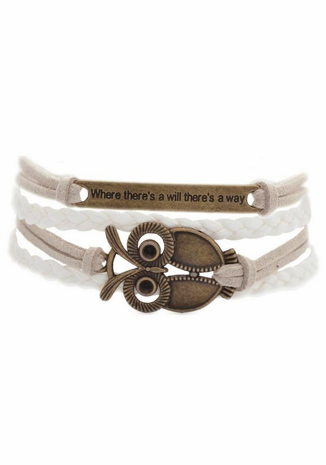 Firetti Armband »Where there's will there's a way Eule« in weiß-beige-bronzefarben