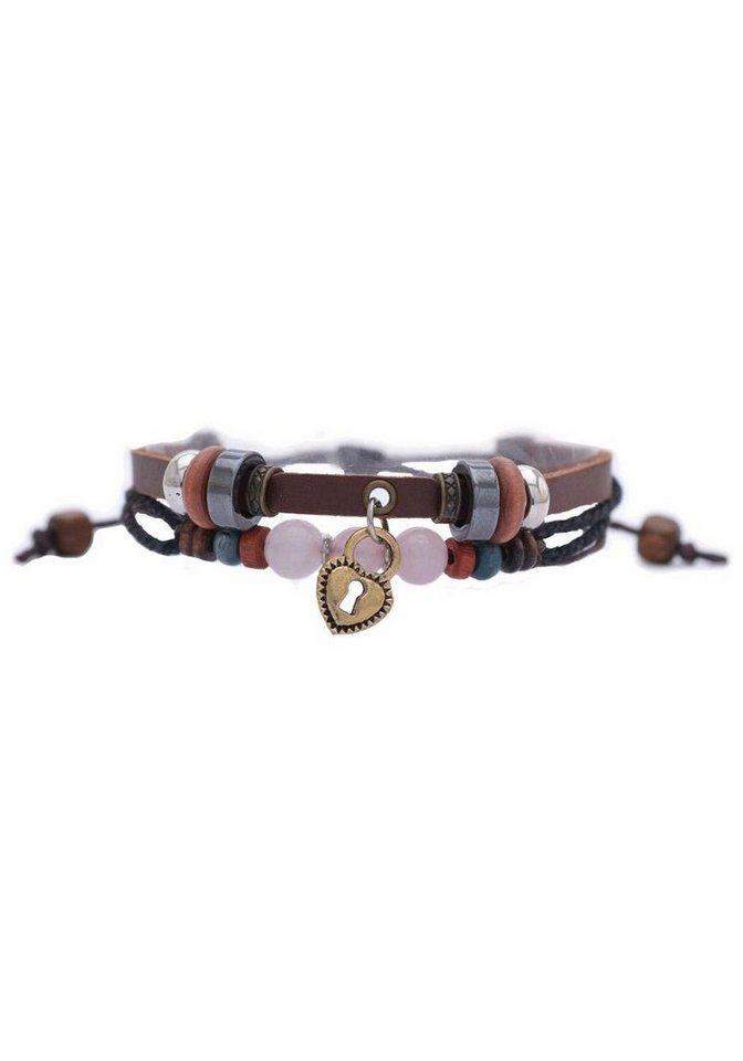 Firetti Armband »Herz« mit Rosenquarz in braun-rosa-bronzefarben