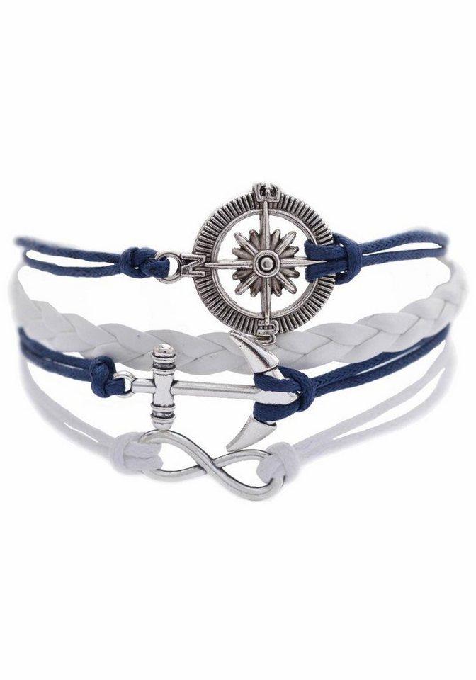 Firetti Armband »Steuerrad, Infinity-Unendlichkeit, Anker« in blau-weiß-silberfarben
