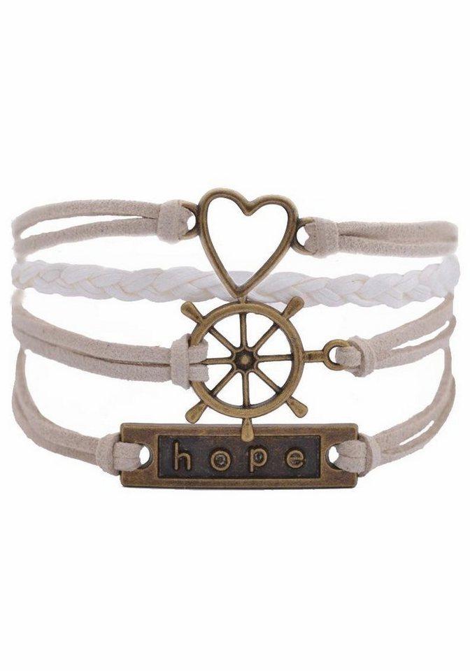 Firetti Armband »Herz, Steuerrad, hope« in weiß-beige-bronzefarben