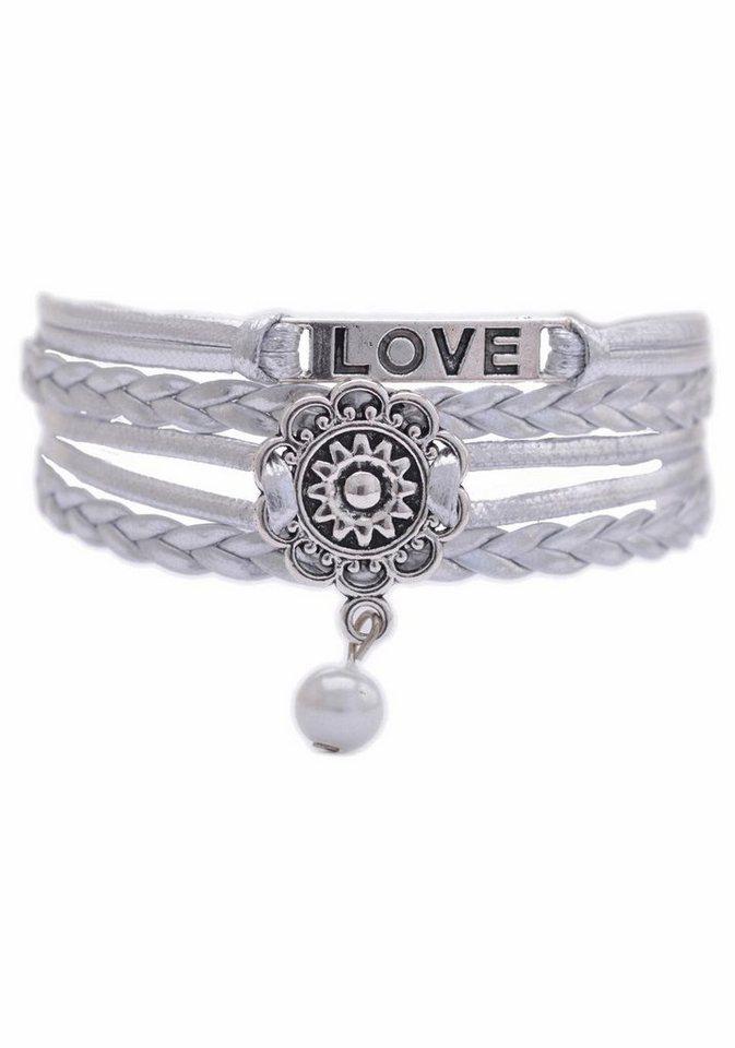 Firetti Armband »LOVE, Blume« mit synthetischer Perle in silberfarben