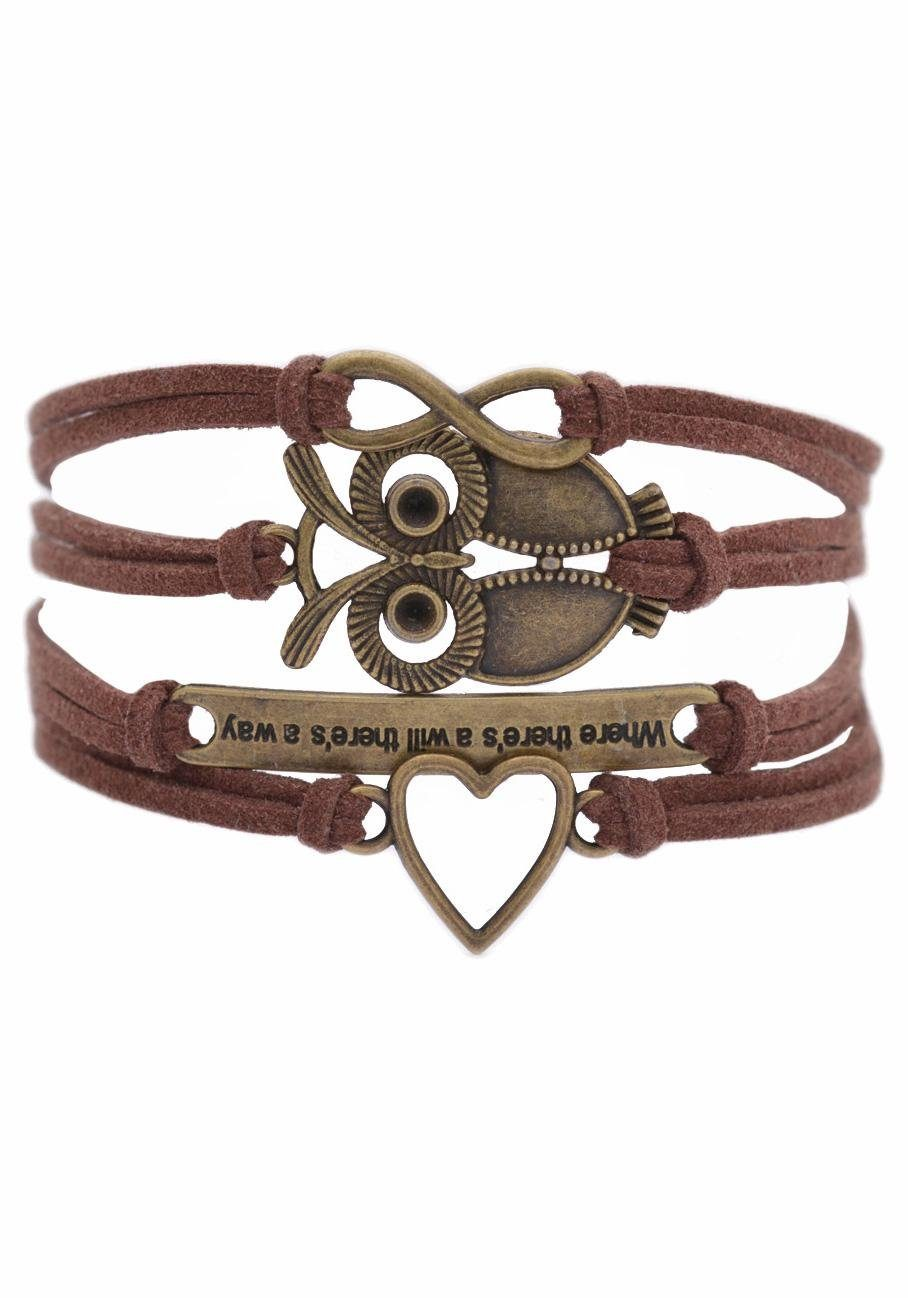 "Firetti Armband »Infinity-Unendlichkeit, Eule, ""Where there's will there's a way"", Herz«"