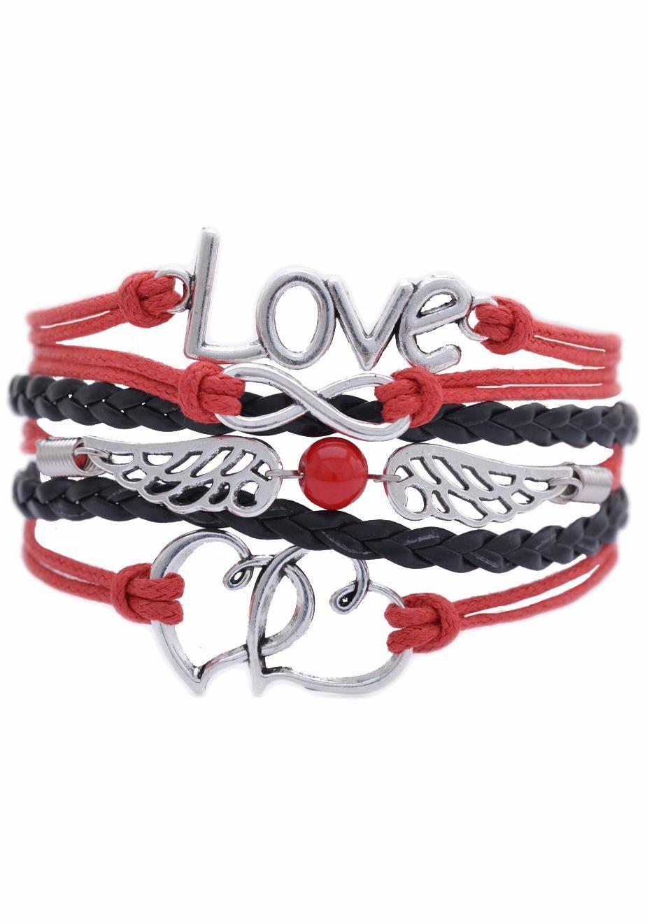 Firetti Armband »Love, Infinity-Undenlichkeit, Flügel, Herzen«, mit synthetischer Perle