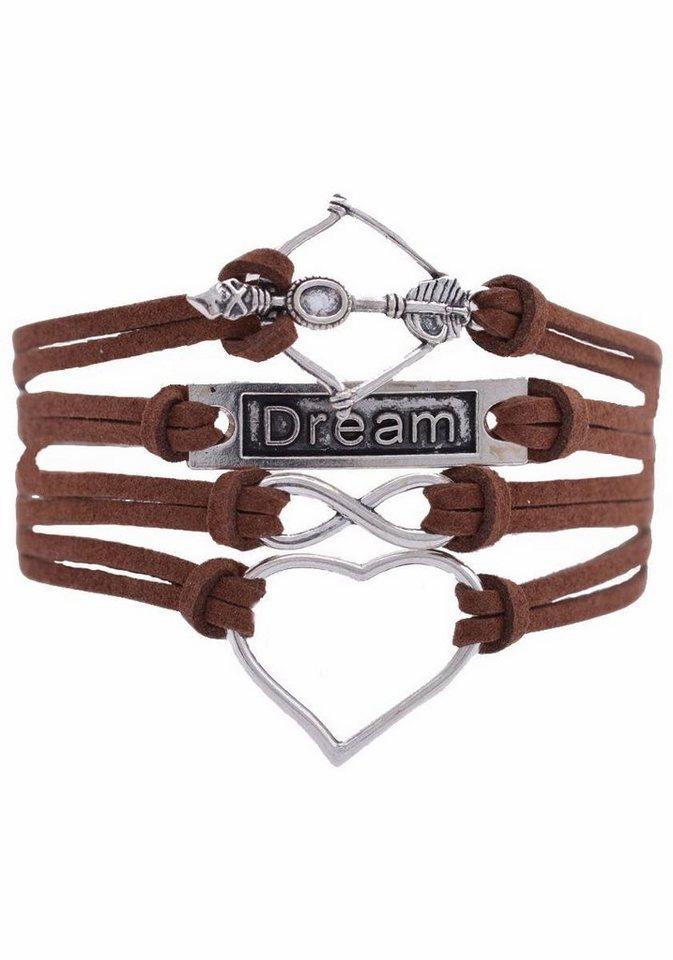 Firetti Armband »Herz Infinity-Unendlichkeit Dream Amors Pfeil & Bogen« in braun-silberfarben