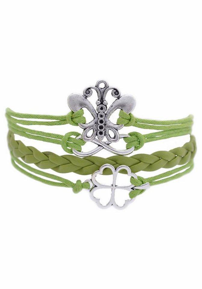 Firetti Armband »Schmetterling, Infinity-Undendlichkeit, Kleeblatt« in hellgrün-silberfarben