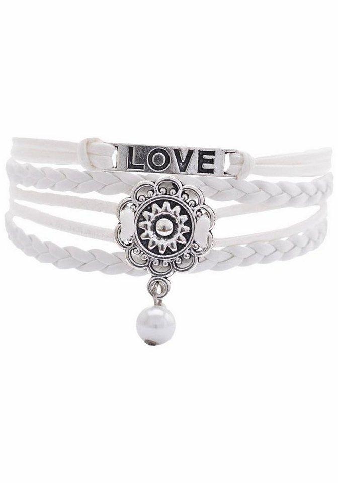 Firetti Armband »LOVE, Blume« mit synthetischer Perle in weiß-silberfarben