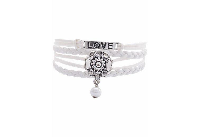 Firetti Armband »LOVE, Blume« mit synthetischer Perle