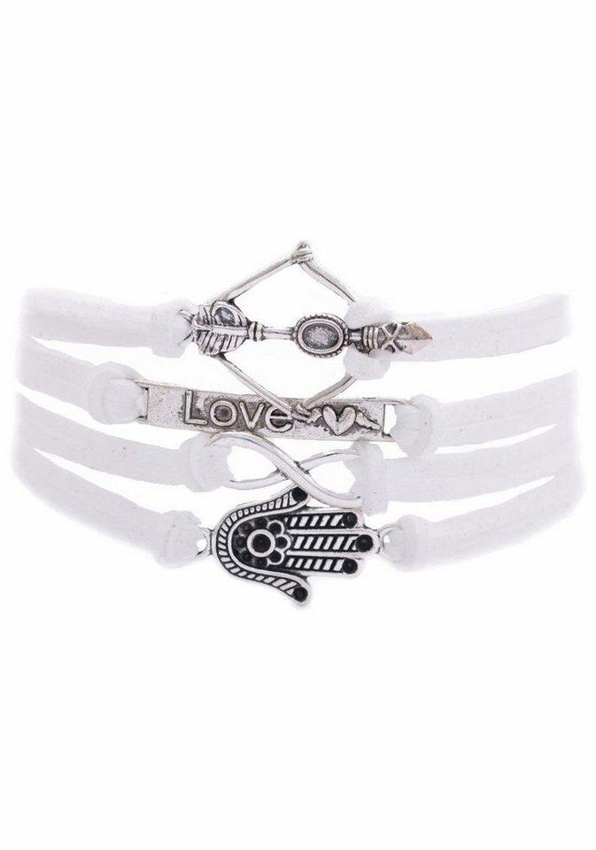 Firetti Armband »Amors Pfeil & Bogen, Love, Infinity-Unendlichkeit, Hamsa Hand Fatima« in weiß-silberfarben