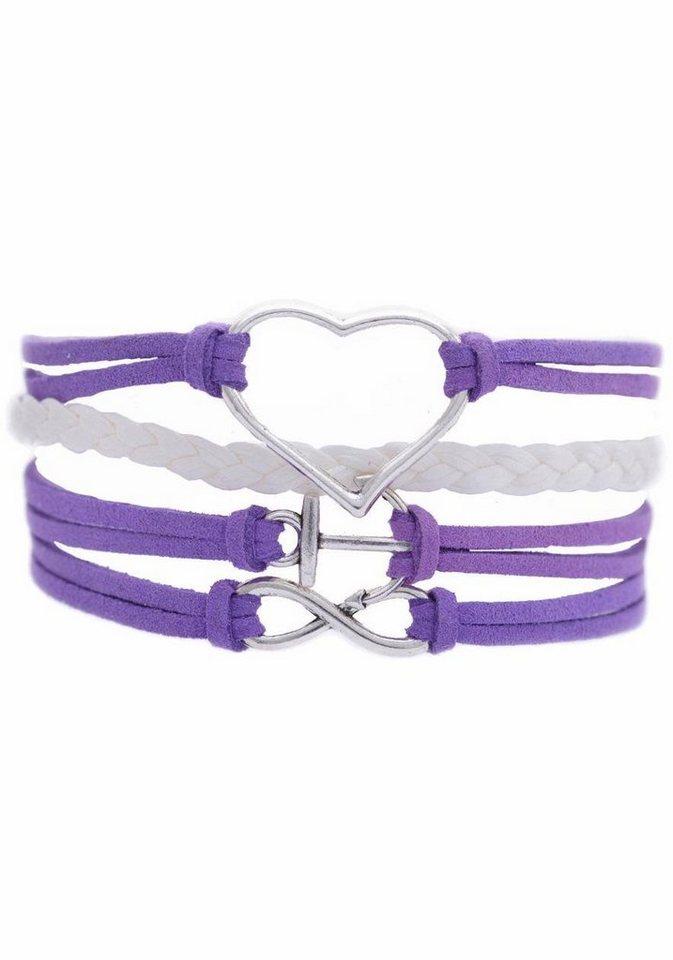 Firetti Armband »Herz, Anker, Infinity-Undendlichkeit« in lila-weiß-silberfarben