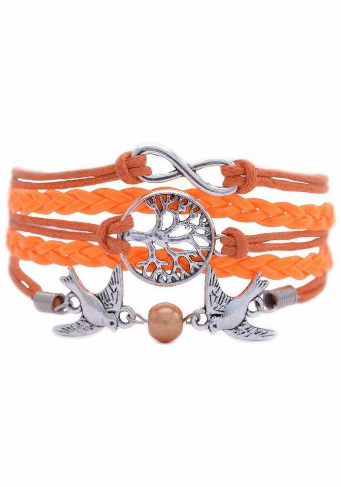 Firetti Armband »Infinity-Unendlichkeit, Lebensbaum, Schwalben« mit synthetischer Perle in neonorange-silberfarben-orange
