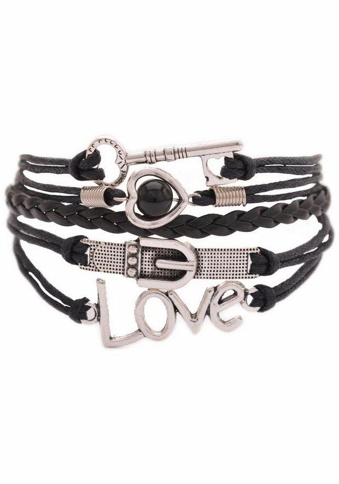 Firetti Armband »Schlüssel, Herz, Gürtelschlaufe, Love« mit >Kunststoffperle in schwarz-silberfarben