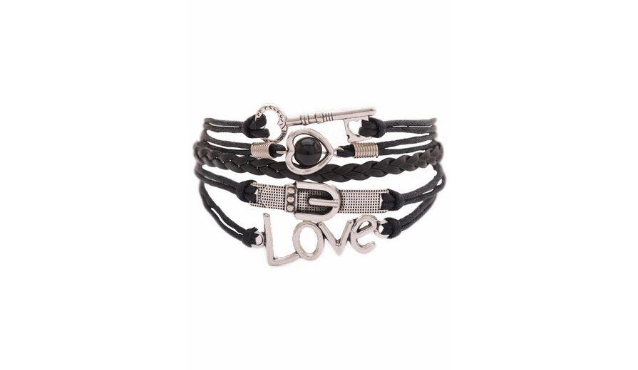 Firetti Armband »Schlüssel, Herz, Gürtelschlaufe, Love« mit >Kunststoffperle