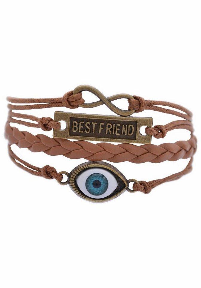Firetti Armband »Infinity-Unendlichkeit BEST FRIEND magisches-Auge« in braun-bronzefarben