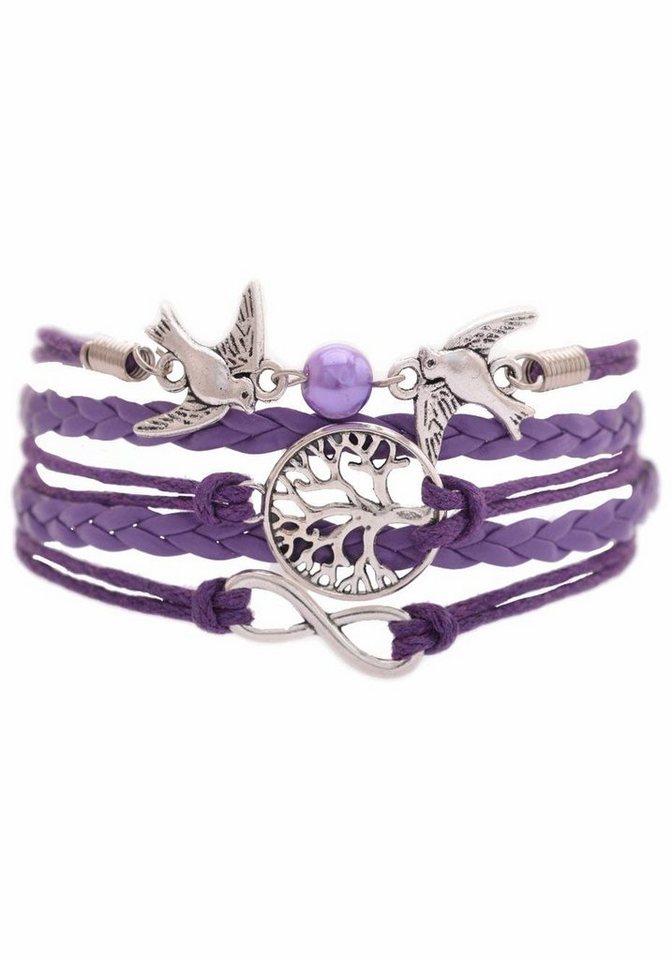 Firetti Armband »Infinity-Unendlichkeit, Lebensbaum, Schwalben« mit synthetischer Perle in lila-silberfarben