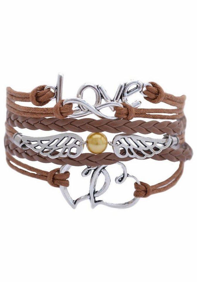 Firetti Armband »Love, Infinity-Undenlichkeit, Flügel, Herzen« mit synthetischer Perle in braun-silberfarben