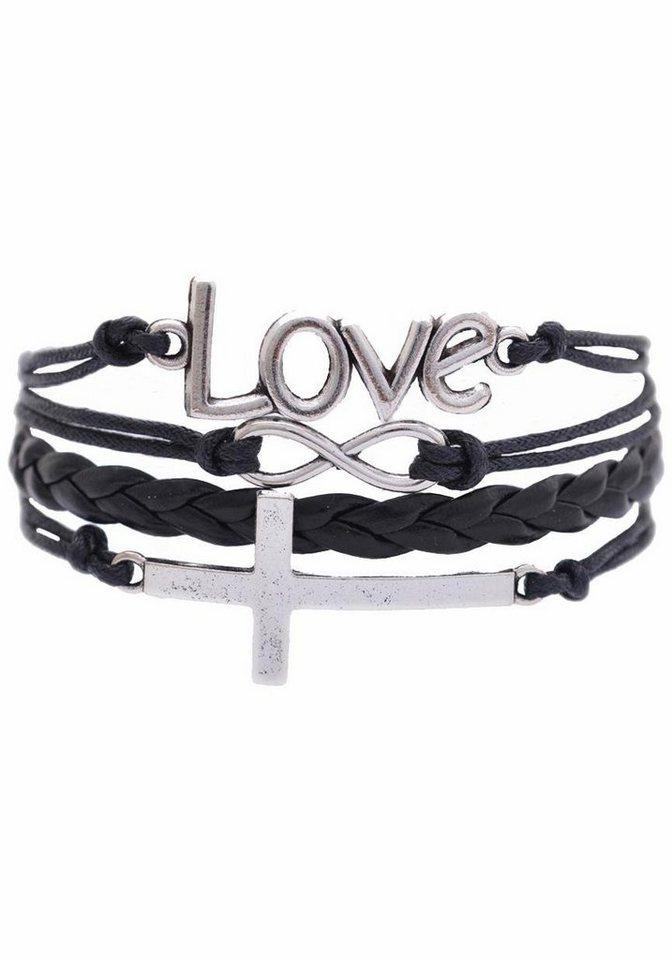 Firetti Armband »Love, Infinity-Unendlichkeit, Kreuz« in schwarz-silberfarben