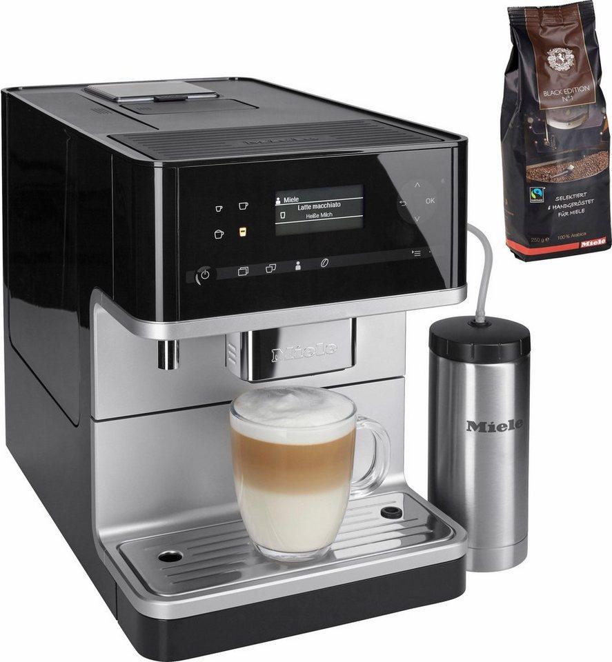 Miele Stand-Kaffeevollautomat CM 6350, Integrierter Milchtank in obsidianschwarz