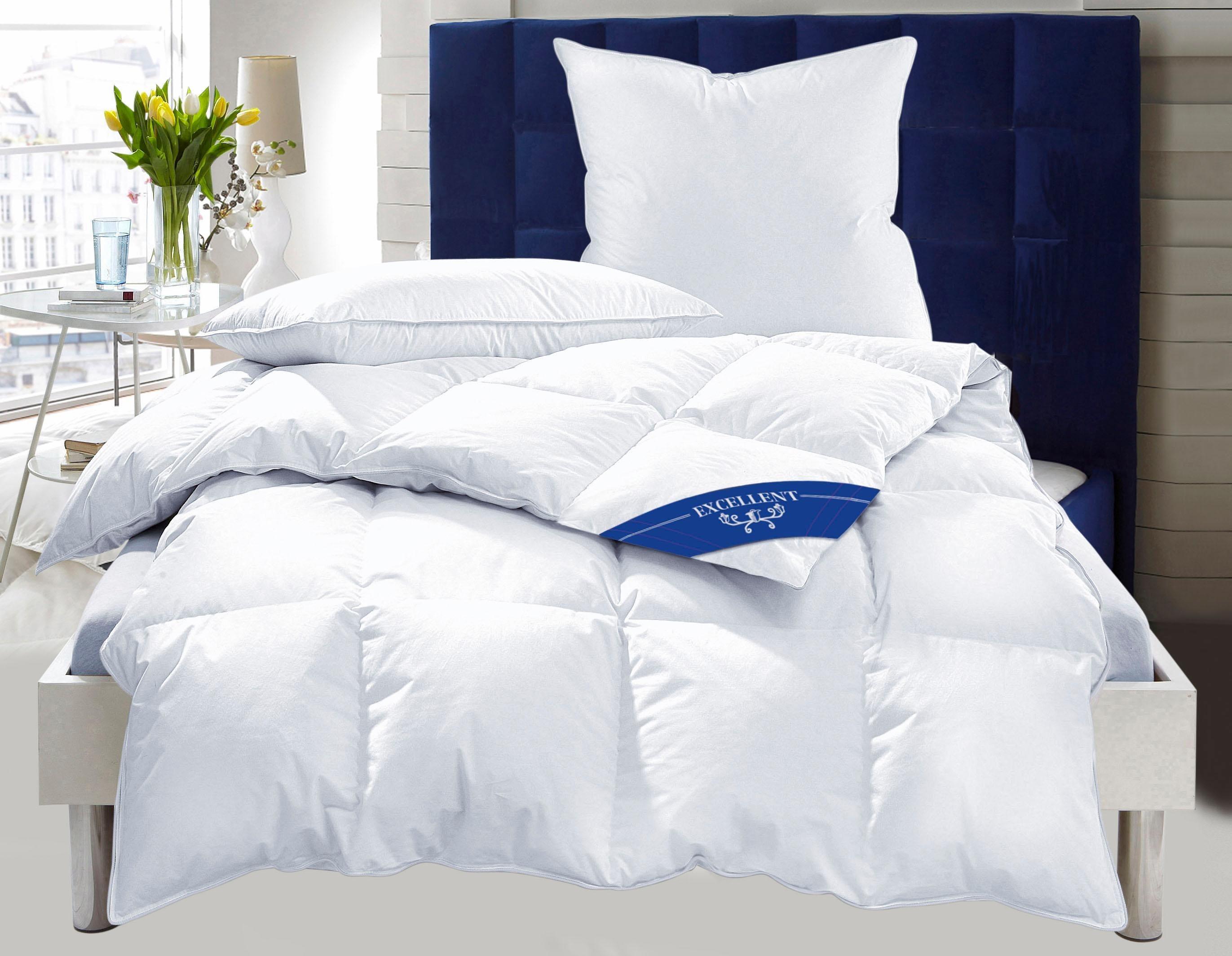 Set: Daunenbettdecken + Kopfkissen, »Zürich«, Excellent, warm, 100% Daunen | Heimtextilien > Decken und Kissen > Bettdecken | Baumwolle - Federn | Excellent