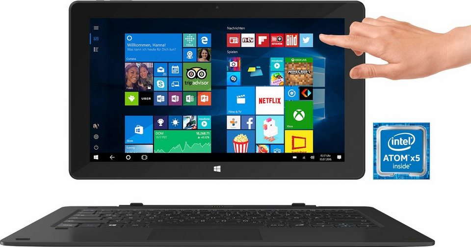 TrekStor SurfTab twin 11,6 3G - Volks-Tablet Tablet-PC, Microsoft® Windows® 10 Home, Quad-Core in schwarz