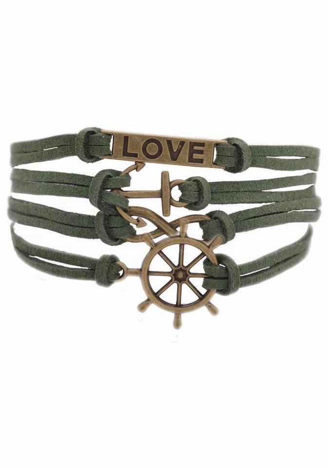 Firetti Armband »LOVE, Anker, Infinity-Unendlichkeit, Steuerrad« in grün-bronzefarben