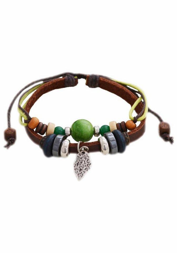 Firetti Armband »Blatt« mit Aventurin in braun-hellgrün-silberfarben