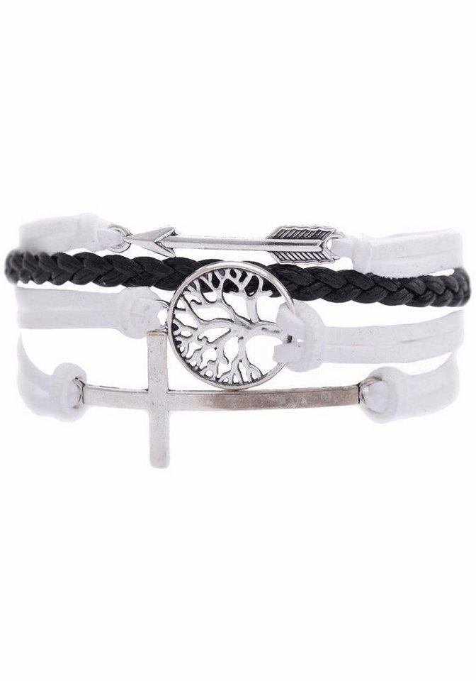 Firetti Armband »Pfeil, Lebensbaum, Kreuz« in weiß-schwarz-silberfarben